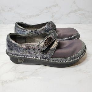 Alegria Purple & Silver Mary Jane Flats